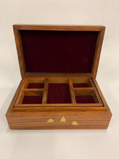 Wooden Jewelry Box W/Brass Inlay