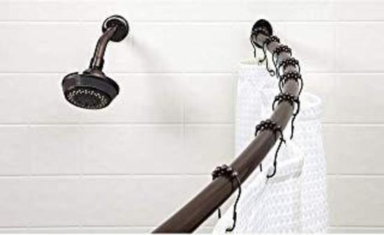 Bath Bliss Wall Mounted Adjustable Curved Bathroom Shower Curtain Rod