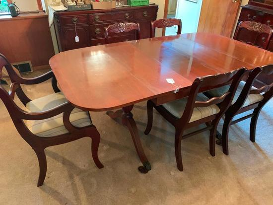 Vintage Mahogany Drop Leaf Table W/5 Leaves & (6) Matching Rose Back Chairs In Duncan Phyfe Style