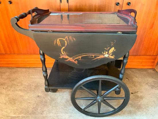 Vintage Hand Painted Tea Cart W/Lift Off Serving Tray & Drop Leaves