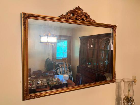 Gold Wall Mirror W/Carved Crest