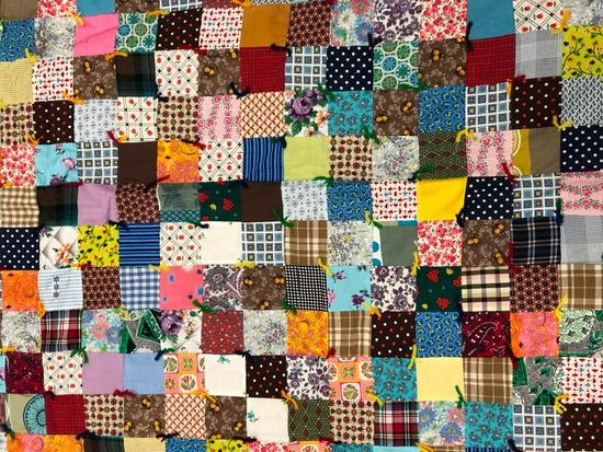 Free Form Vintage Block Quilt. Hand Made Pieced Patchwork Quilt