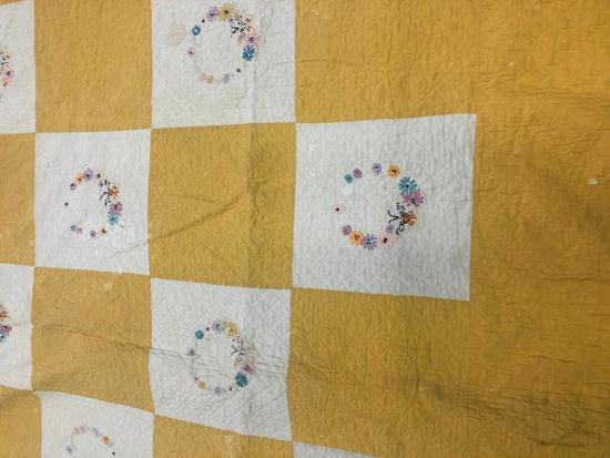Vintage Embroidered Block Bed Quilt With Scallop Edging.