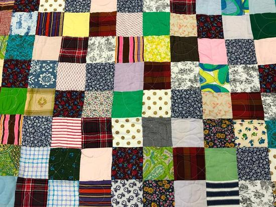 Free Form Handmade Pieced Patchwork Quilt.