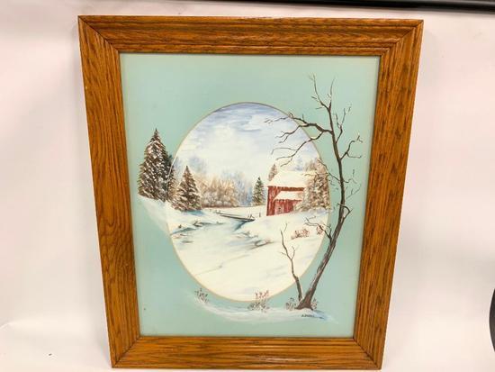 Oil On Board & Matting Of Winter Scene In Oak Frame