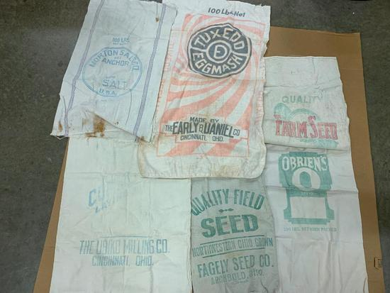 (5) Vintage Cloth Feed & Salt Bags