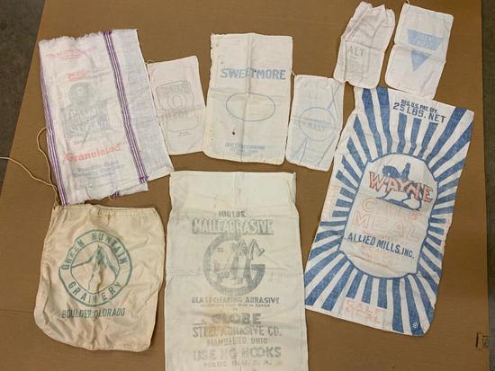 (6) Vintage Cloth Feed /Salt/Meal Bags