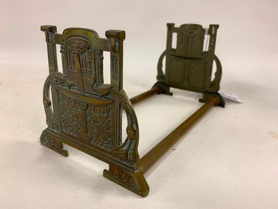 Vintage Copper/Brass Expanding Book Rack W/Embossed Fountain & Peacocks Ends