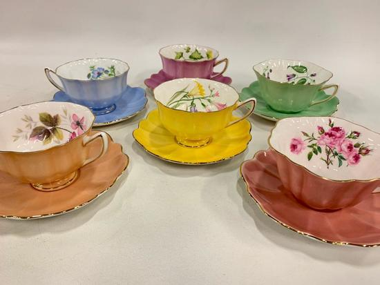 """(6) Matching Cups & Saucers By """"Shelley Fine Bone China England"""""""