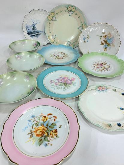 (11) Hand Painted & Transfer Plates & Bowls