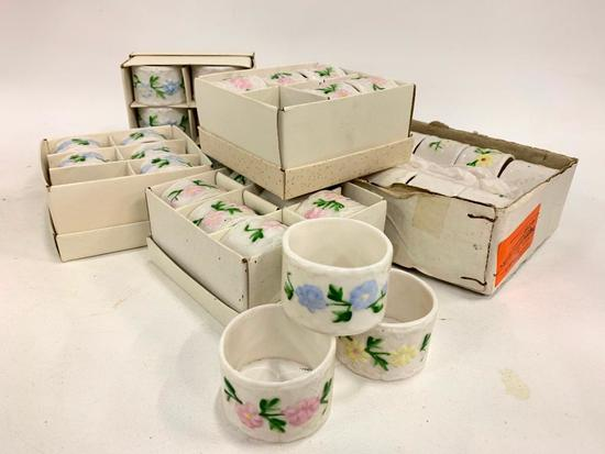 (36) China Napkin Rings W/Hand Painted Flowers