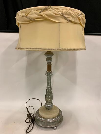 Vintage Metal & Marble Lamp W/Original Shade Looks 1940's