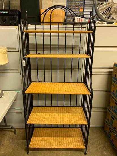 Metal Bakers Rack W/Wicker Shelves