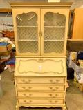 Vintage French Provencial Drop Center Bookcase Secretary W/Keys