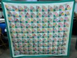 Vintage Hand Stitched Quilt In Fan Pattern