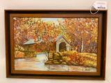 Framed Oil On Canvas Of Covered Bridge Signed