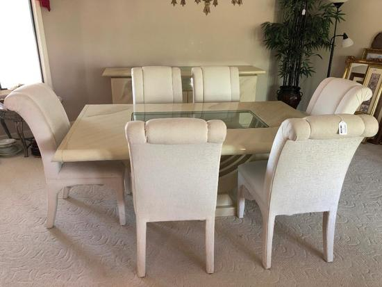 Beautiful Formal Faux Marble Dining Room Table W/(2) Leaves, (6) Upholstered Chairs, & Server