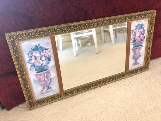 Gold Framed Beveled Mirror W/Prints On Each End