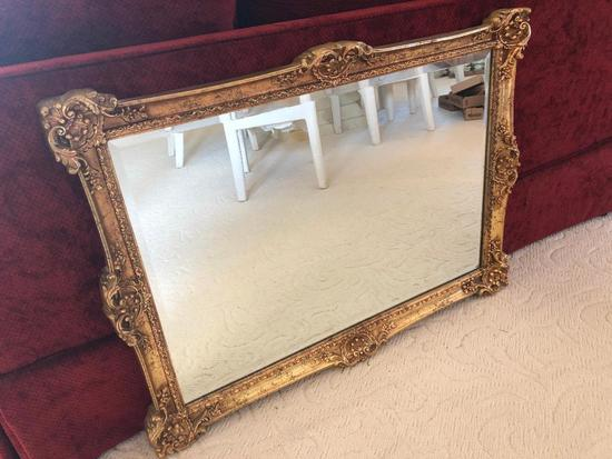 Gold Framed Beveled Wall Mirror