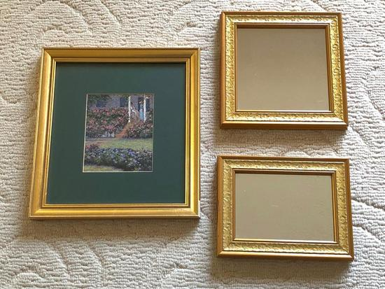 (3) Gold Framed Mirrors & Print