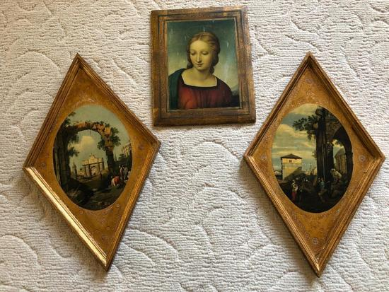 Group Of (3) Made In Italy Wall Plaques On Wood