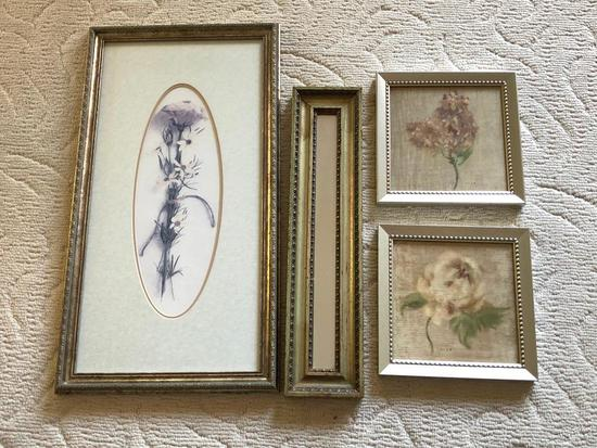 Group Of (4) Framed Decorator Prints & Mirror