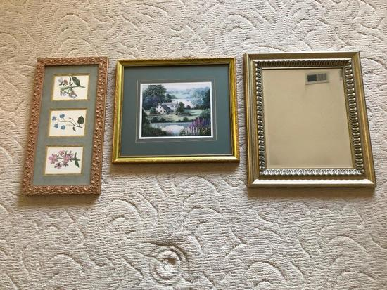 (2) Nicely Framed Decorator Prints + A Mirror