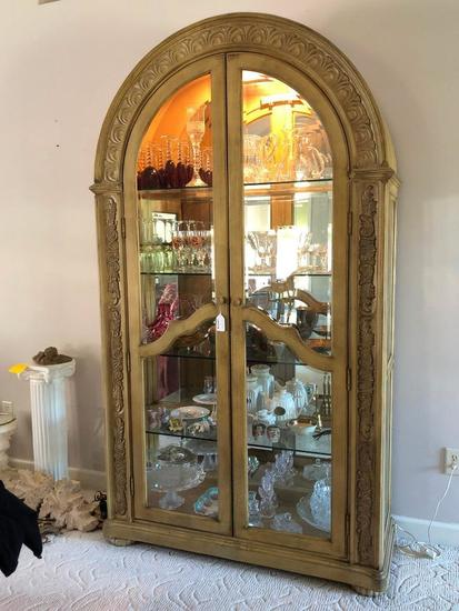 Lighted 2-Door Domed Curio Cabinet W/Mirrored Back & Beveled Glass