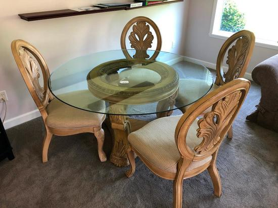 Dining Room Table W/Plate Glass Top & (4) Matching Chairs
