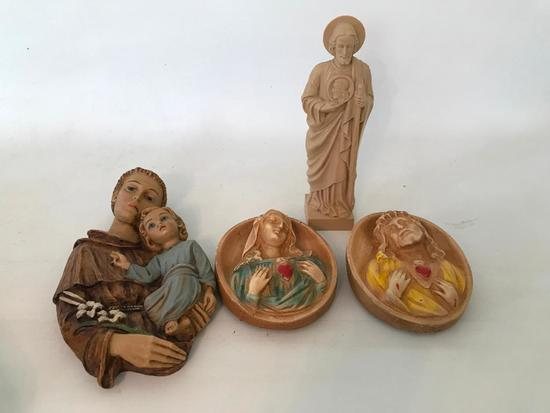 Group Of Religious Plaques & Statue
