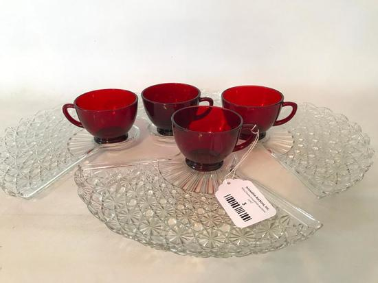 Vintage Red & Clear Glass Snack Set