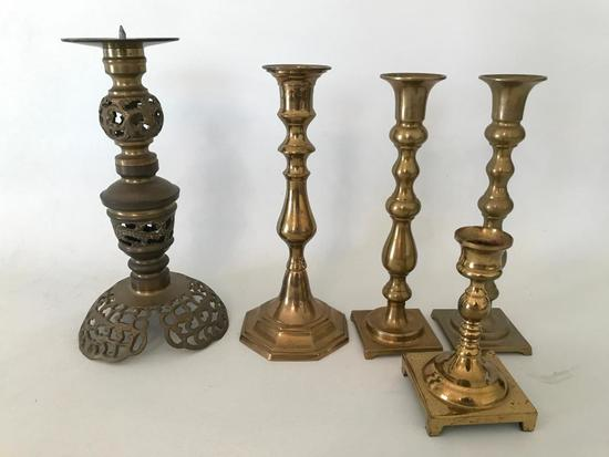 (5) Brass Candle holders