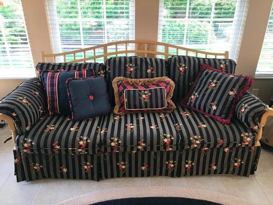 Ethan Allen Wood Framed Couch W/ Pillows & Extra Set Of Slip Cushion Covers