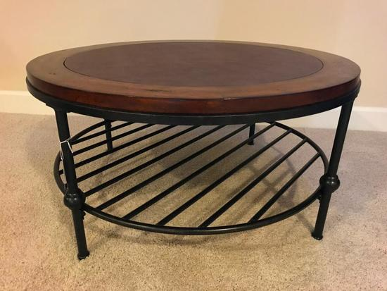 Round, Metal and Wood Coffee Table, 35 Inches in Diameter, 17.5 Inches Tall, Leather Inlaid Top