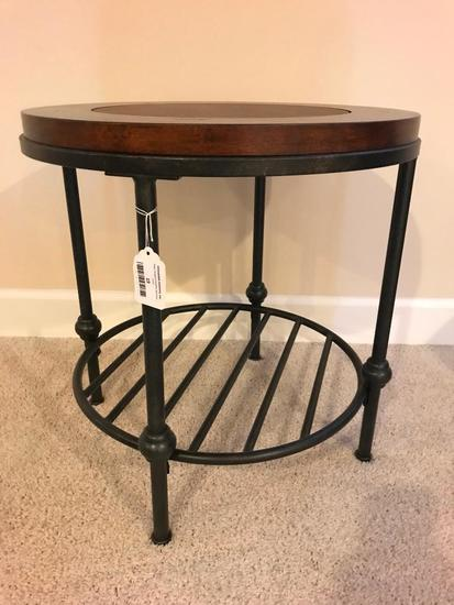 Metal and Wood End Table with Learher Inlaid Top, 22 Inch Diameter and 23 Inches Tall