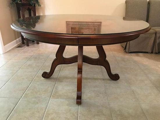 """Ethan Allen Round Dining Room Table W/Plate Glass Top & (1) 20"""" leaf"""