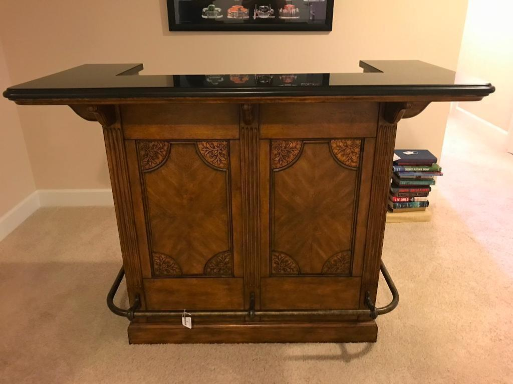 Hooker, Seven Seas, Small Wood Bar with Decorative Top, Wine Rack, Doors and More