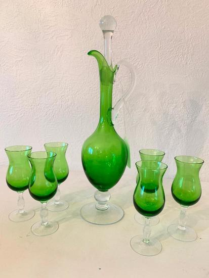 Vintage Glass Wine Decanter W/6 Matching Glasses