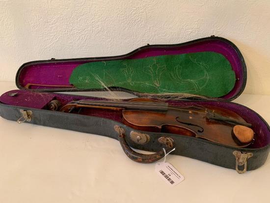 Vintage Violin & Bow In Case