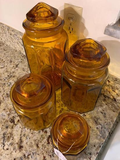 (4) Pc. Amber Glass Canister Set