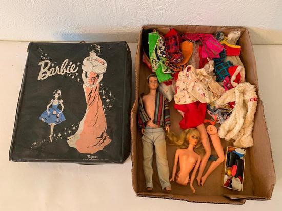 1960 Ken Doll In 1962 Barbie Case W/Lots Of Clothing