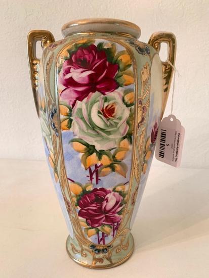 Vintage Hand Painted Japan Vase W/Floral Design