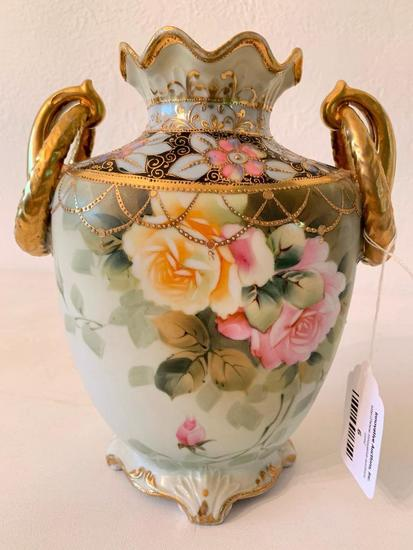Vintage Hand Painted Nippon Vase W/Yellow & Pink Roses