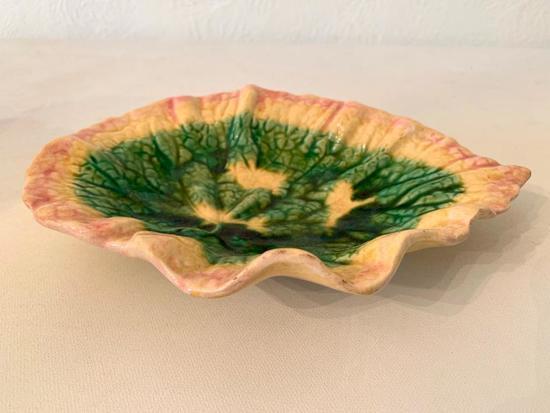 Antique English Majolica Leaf Dish