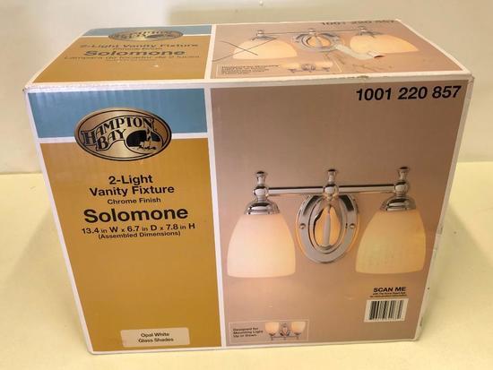Hampton Bay 2-Light Vanity Fixture. Solomone. Chrome Finish w/Opal White Glass Shades.