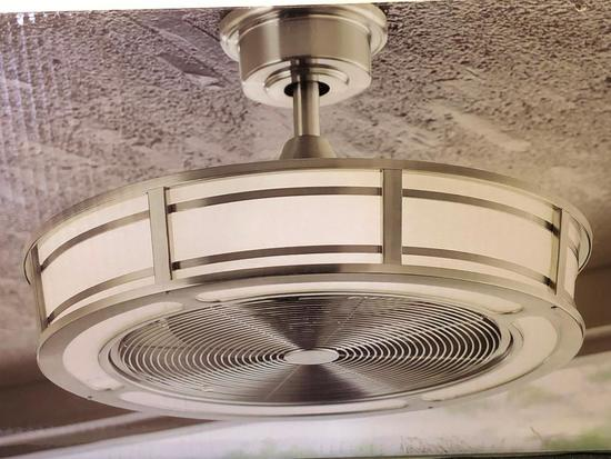 23 inch. Indoor/Covered Outdoor Drum Ceiling Fan. Brette LED. Home Decorators Collection.
