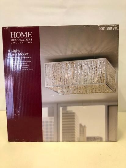 4-Light Flush Mount Light-Fixture. Home Decorators Collection. Chrome & Silver w/Clear Glass Beads.