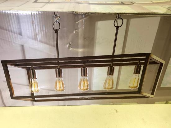 5-Light Chandelier Boswell Quarter. Home Decorators Collection. Brushed Nickel & weather wood finish