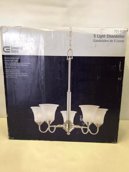 5-Light Chandelier. Commercial Electric. Brushed Nickel Finish. Frosted Glass Shade.