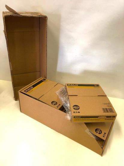 6 Pack Box 5 inch. HALO Recessed Lights. White Gimbal 35 Degree Tilt.